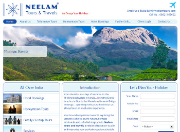 Neelam Tours & Travels website developed by wabuwa