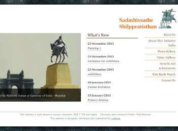 Sadashiv Sathe Shilppratisthan website developed by wabuwa