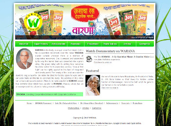 Warana Sugar website developed by wabuwa